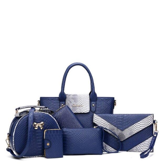 bd523b004c 6pcs set Women Handbag Set Sac a main Fashion Designer PU Leather Crossbody Bag  Ladies Shoulder Messenger Bag Bolsa Feminina