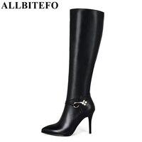 Allbitefo كبيرة الحجم: 33-43 مشبك مثير عالية الكعب الشتاء الثلوج جلد طبيعي + pu أزياء النساء الركبة عالية أحذية النساء أحذية
