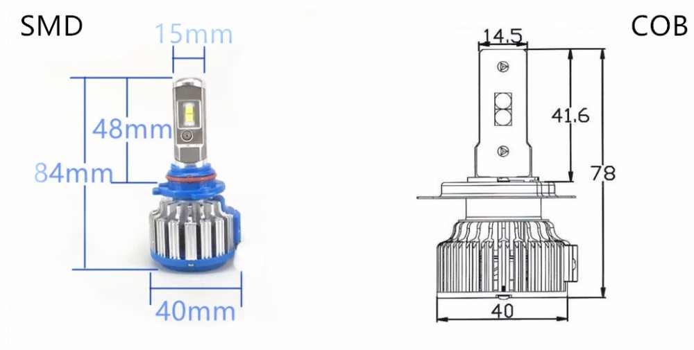 Auto Car Headlight H4 LED H7 LED H1 H3 H11 9005 9006 880 9004 9007 H16 H13 60W 8000lm 6000K Replacement Kit Bulb HiLo Beam