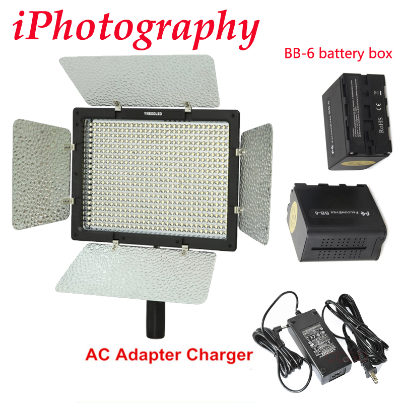 Yongnuo YN600 YN600L 5500k LED Video Light with AC Adapter Charger 2pcs BB 6 AA battery
