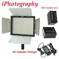 Yongnuo YN600 YN600L 5500k LED Video Light with AC Adapter Charger + 2pcs BB-6 AA battery box