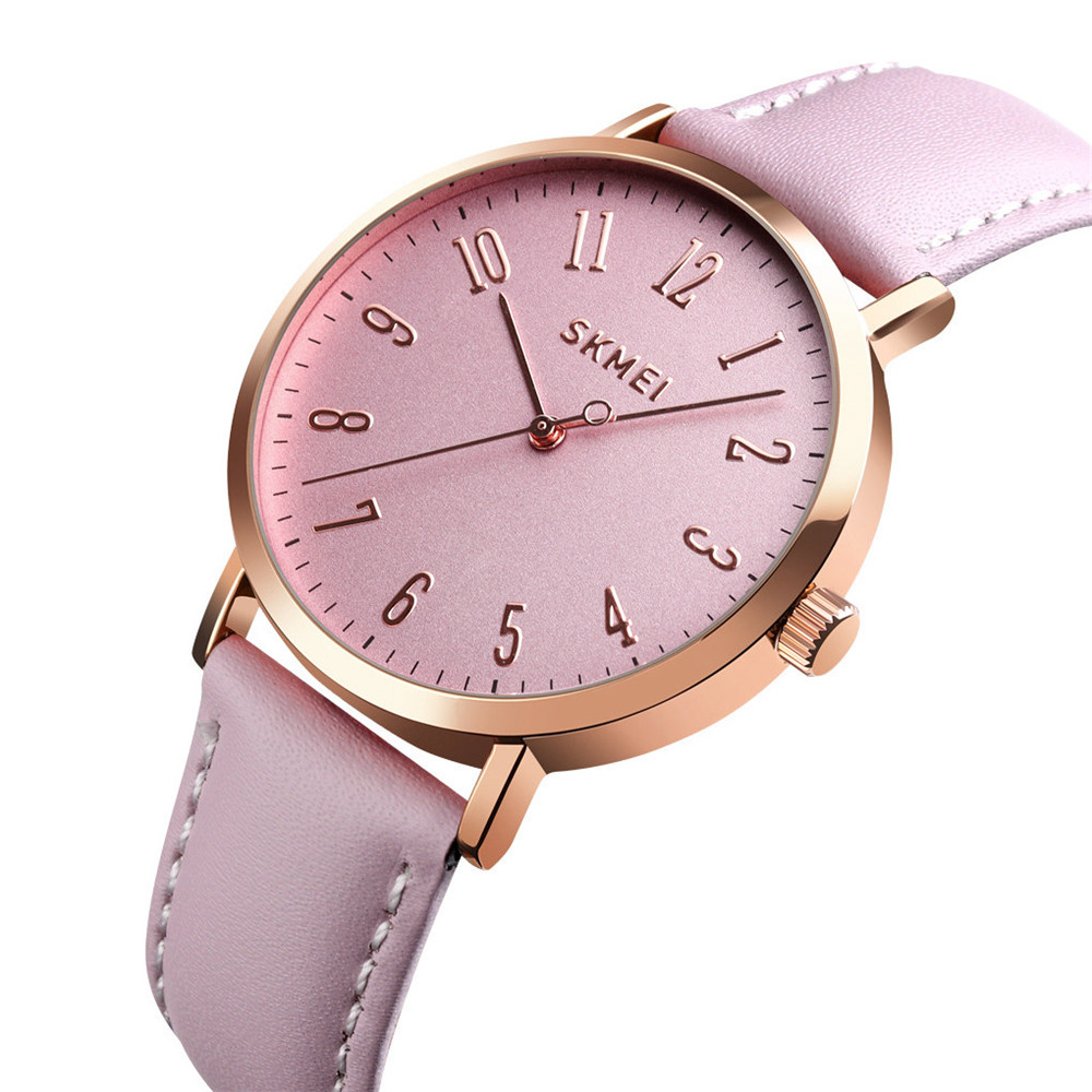 SKMEI Fashion Women Watches Ladies Quartz Watch Leather Strap Waterproof Wristwatches Female Watch Lovers Relogio Feminino 1463