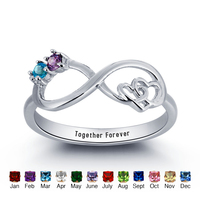 Personalized Infinite Love Promise Ring Double Heart 925 Sterling Silver Cubic Zirconia Ring Free Gift Box