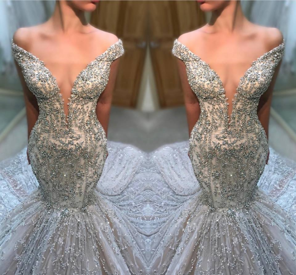 2019 Sexy Beading Crystal   Prom     Dresses   Elegant Off The Shoulder Mermaid   Prom   Gowns V-Neck Court Train Vestidos De Gala