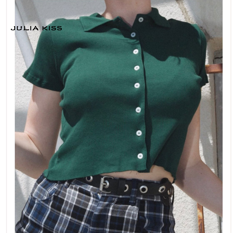 Women Short Sleeve Collared Button Up Crop Top Opaque Buttons T-shirt