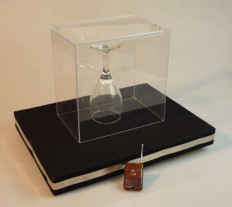 Dos en un Control remoto de vidrio rompiendo bandeja Pro + moneda en estera de vidrio orgánico cubierta trucos de magia mentalismo stage Props