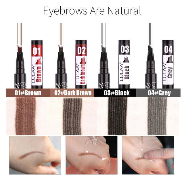 LULAA Four Heads Eyebrow Pen Waterproof Eyebrow Pencil Tattoo Tint Long Lasting Liquid Eye brow Gray Brown Black  Brush Makeup 2