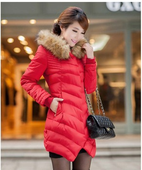 Women's winter fashion cotton parkas female overcoat ladies jacket with natural real raccoon fur collar hood red black green xxl