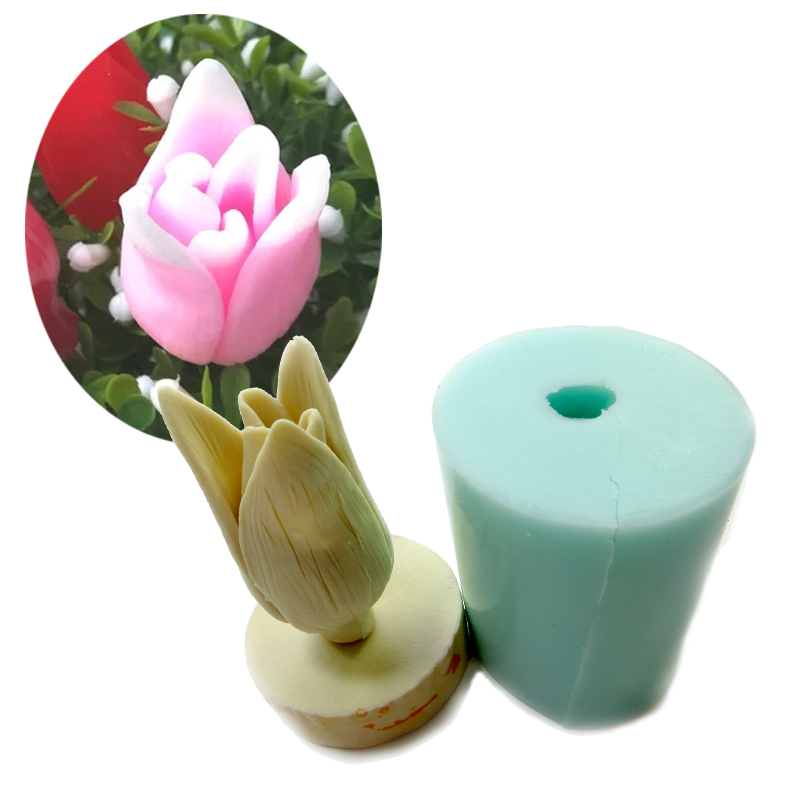 PRZY HC0019 Bouquet Floral flowers 3d Tulips Silicone molds candle molds chocolate mould silicone fondant mold clay moulds in Clay Extruders from Home Garden