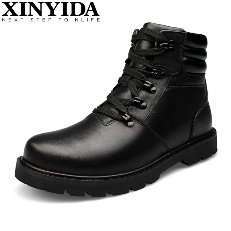 Kulit asli Sepatu Salju Pria Kulit Oxfords Sepatu Musim Dingin Kasual Bulu Ankle Boots untuk Pria Sepatu Botas Tahan Air Hangat Plus Ukuran
