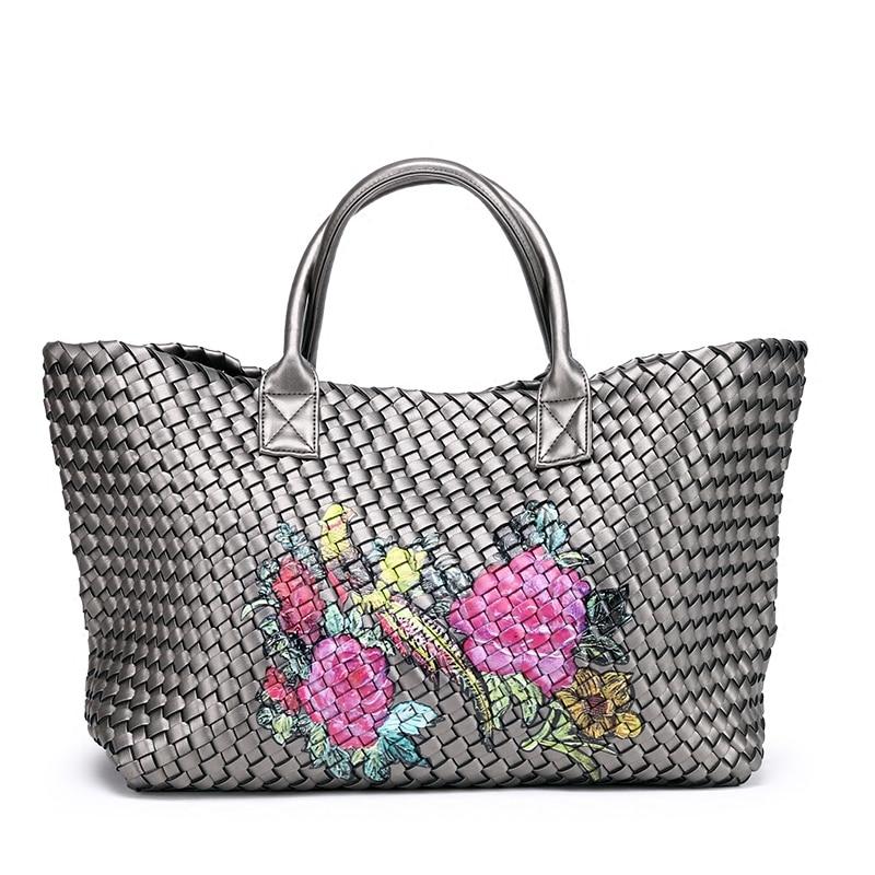 Women's Handbags Basket Hand-woven PU Leather Female Shoulder Bag 2018 Retro Large Capacity Travel Shopping Bag Bolsa Feminina