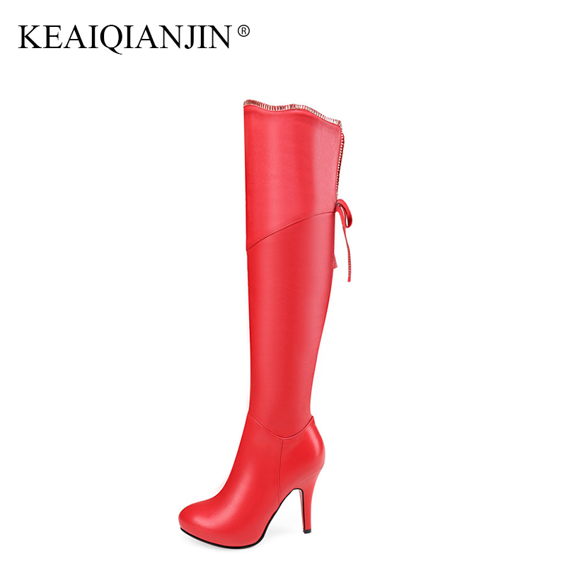 KEAIQIANJIN Woman Genuine Leather Over The Knee Boots Autumn Winter Black Beige Red Genuine Leather Pointed Toe High Heels Boots цены онлайн