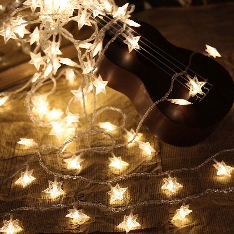 Star String Lights Battery Powered Copper Wire LED Fairy Lights Christmas Wedding Decoration Garland Lamp Holiday Party Supplies
