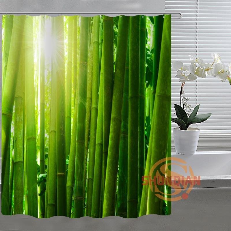 Green bamboo custom shower curtain bathroom fabric for - Rideau de douche bambou ...