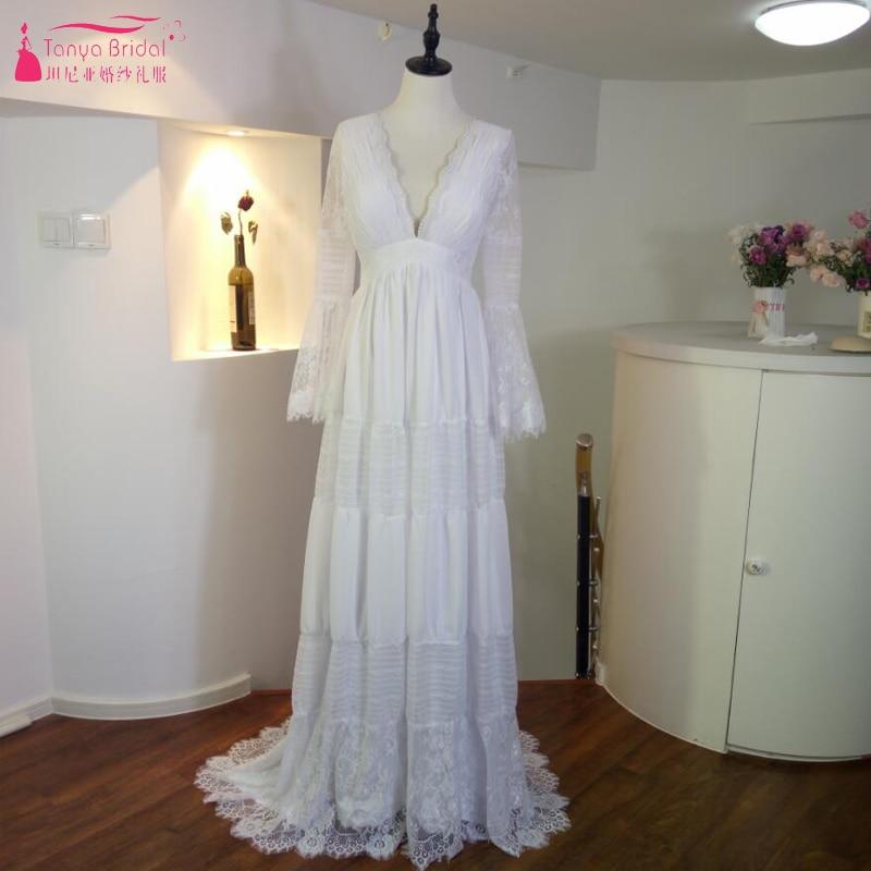 Gwendolyn Bohème robes De mariage V-cou Dentelle Vintage D'été De Mariée robe De mariage France charme Chaude Gelinlik Robe De noiva