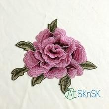 Здесь можно купить  5pcs/lot 21*17cm 3D rose peony flower patch Embroidered garment Appliques sew On Patches Clothes cheongsam dress Accessory A2