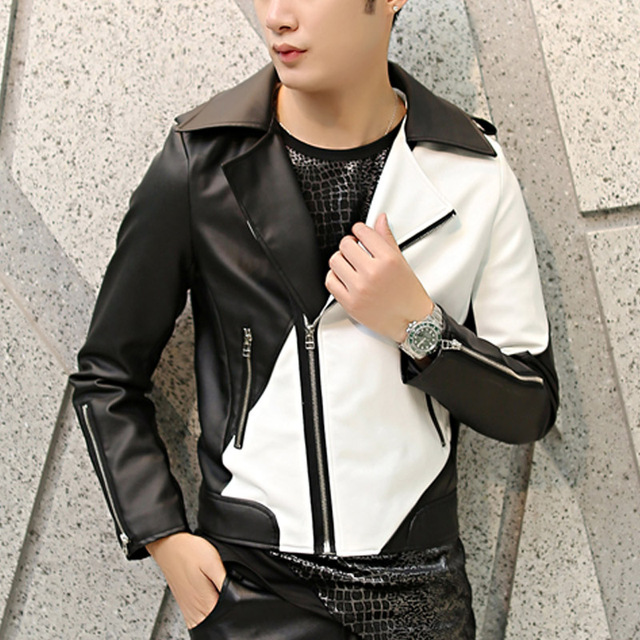 Men Leather Jackets And Coats White Black Mix Color PU Leather Mens Stage Show Punk Rock Homme Motorcycle Jacket + Pants Q353