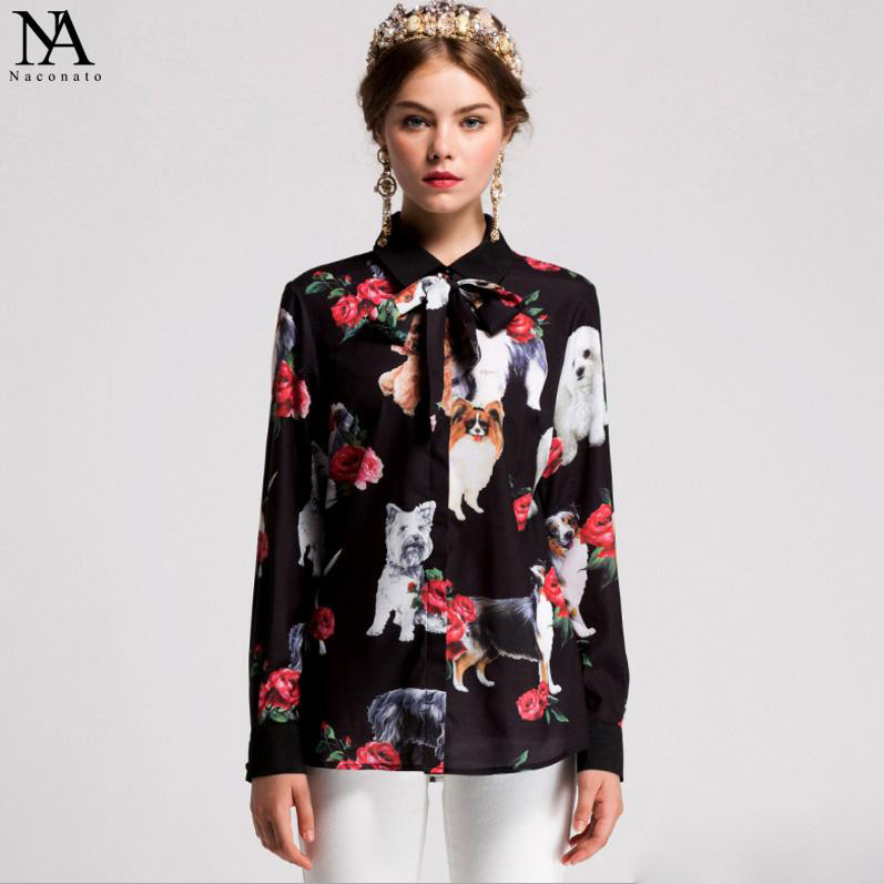 New Arrival 2018 Womens Turn Down Collar Long Sleeves Characters Printed Floral Bow Detailing Fashion Runway Shirts