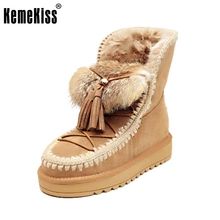 News Women Snow Boots Real Leather Flat Platform Ankle Winter Boots Lady Fur Warm Australia Boots Brand Shoes Woman Size 34-39