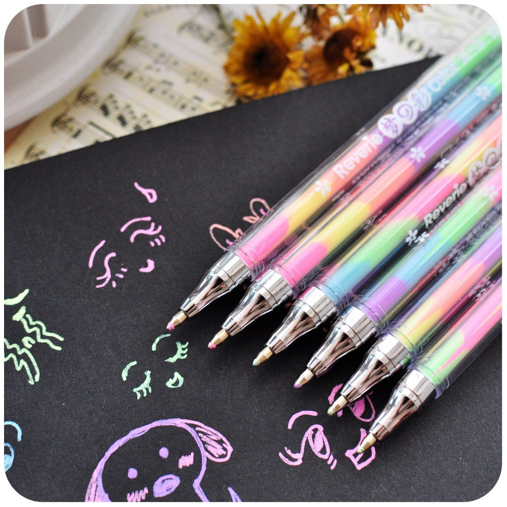 Scrapbook paper aliexpress - Photo Album Props Rainbow Segmented Colorful Gel Ink Pens For Kids Diy Black Cards Scrapbook Photo