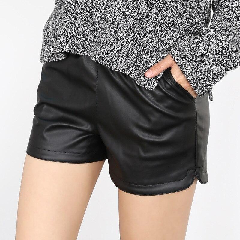 Danjeaner 2017 Autumn Winter Women Casual Black Pu Leather Shorts Ladies Elastic Waist Booty Shorts  Female Slim Short Mujer