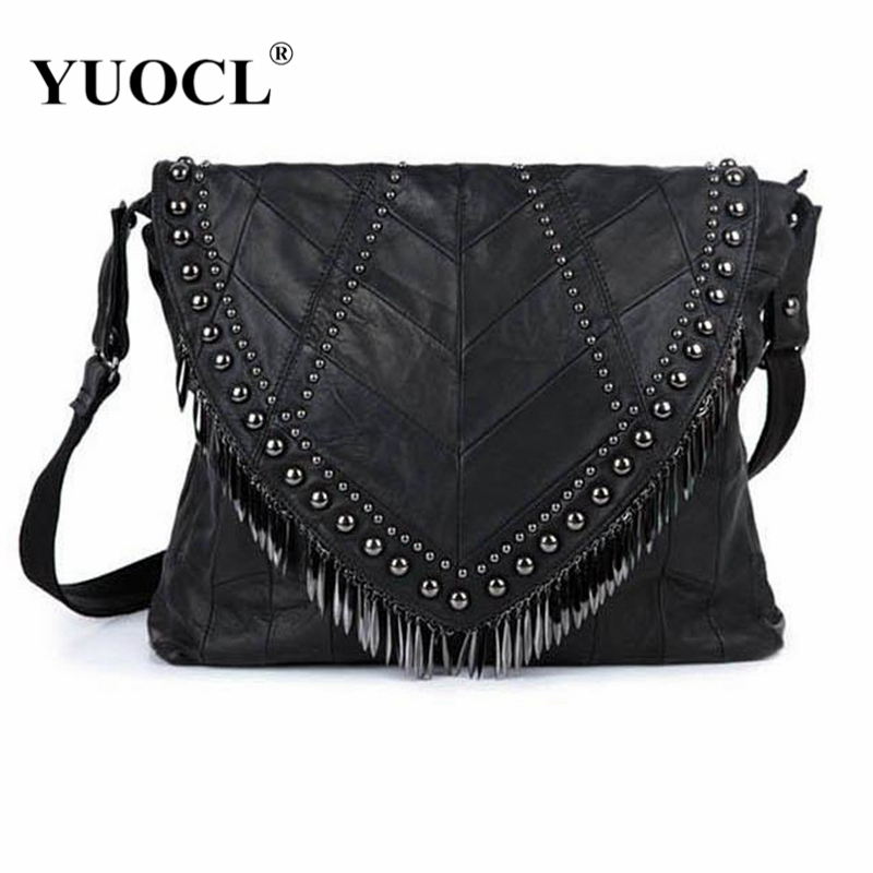 2018 All-match Genuine Leather Women Handbags Designer Tassel Female Shoulder Bags Rivet Bag Woman Crossbody Bag Bolsa Feminina