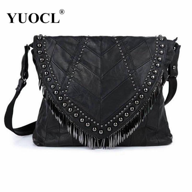 2018 All-match Genuine Leather Women Handbags Designer Tassel Female Shoulder Bags Rivet Bag Woman Crossbody Bag bolsa feminina