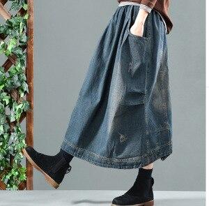 Image 2 - Autumn Winter Skirt Retro Women Loose Denim Skirt New Elastic Waist pocket Bleached Casual Female 2018 Denim Skirt