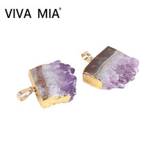 Druzy Amethysts Natural Clear Crystal Pendent Irregular Pendant Gold Color Stone Pendants Jewelry Making