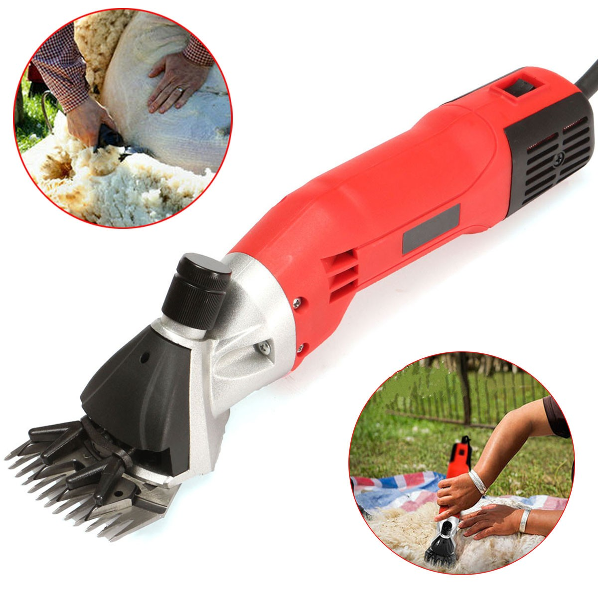 Electric Sheep Goats Shearing Clipper Shear Alpaca Farm Shears Tool Aluminum Power Scissors 500W 220V AC new 680w sheep wool clipper electric sheep goats shearing clipper shears 1 set 13 straight tooth blade comb
