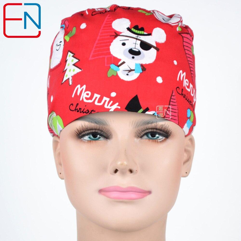 Hennar Scrub Caps For Women Men Hospital Medical Caps Printed Comfortable Hat Elastic Surgical Caps Pet Doctor Caps Masks Unisex