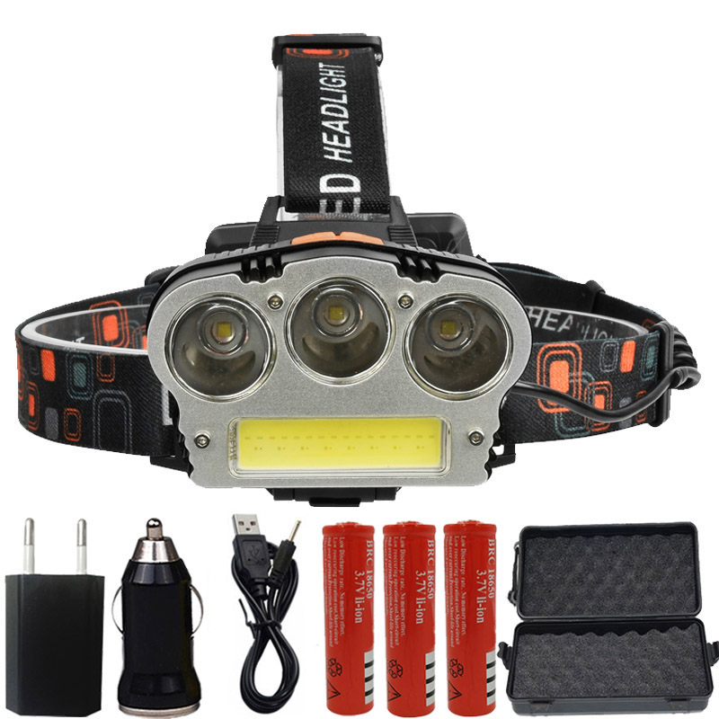 Litwod z20 15000 Lumen led headlamp power headlight xml 3*T6+COB head flashlight torch USB rechargeable Head lamp For Camping usb rechargeable headlight cob led headlamp 3 modes head torch flashlight for camping use 2 18650 batteries