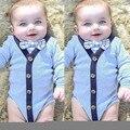 2016 Bebê Bodysuit Longo-Sleeved Infantil gentleman ternos Do Corpo Do Bebê Da Menina do Menino Macacões Roupas Roupas de Recém-nascidos