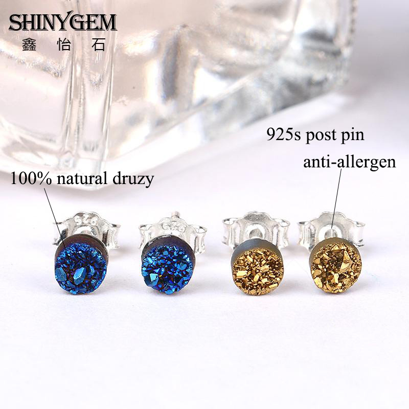 chakra girls european natural gifts point mini musiling charms stone product fashion stud plated double fashionable earrings jewelry gold from