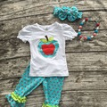 2016 new summer back to school hot baby girls blue apple white dot ruffles capri set  outfits with matching necklace and bow