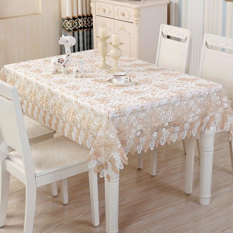 מפת שולחן בד שולחן תחרה בסגנון אירופה אור בראון הולו מתוך טלוויזיה ספת מקרר מצעים כיסוי קישוט שולחן אלגנטי