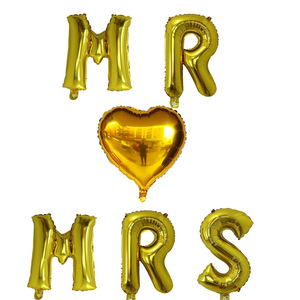 Image 2 - 6pcs 16inch rose gold letter balloons MR MRS heart foil balloon Wedding anniversary Valentines day party decoration supplies