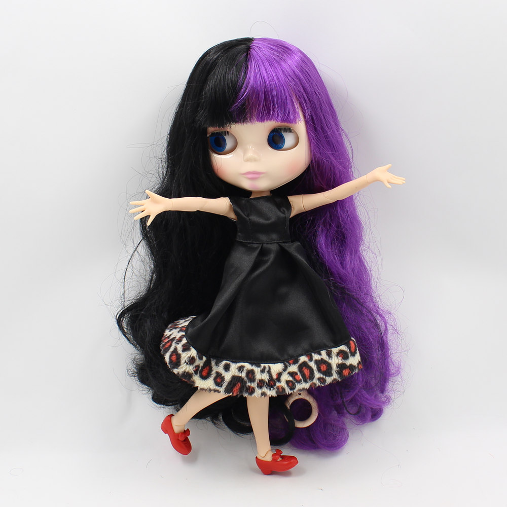 Blyth nude doll Joint body with Black mix Purple Hair doll 1/6 BJD Suitable DIY makeup doll toys for sale 12 blyth nude doll k 180 black hair bjd blyth doll for sale