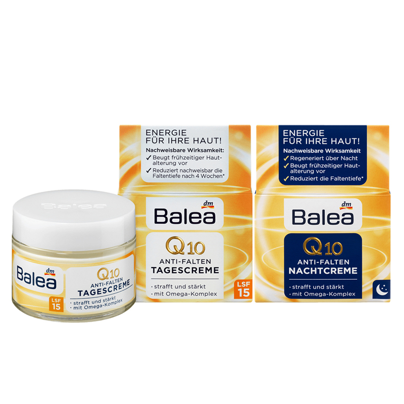 Germany Balea Q10 Anti-wrinkle Day Cream+Night Cream VitaminE Cream Reduce Wrinkles Fine Lines SkinCare Regeneration Cream Vegan
