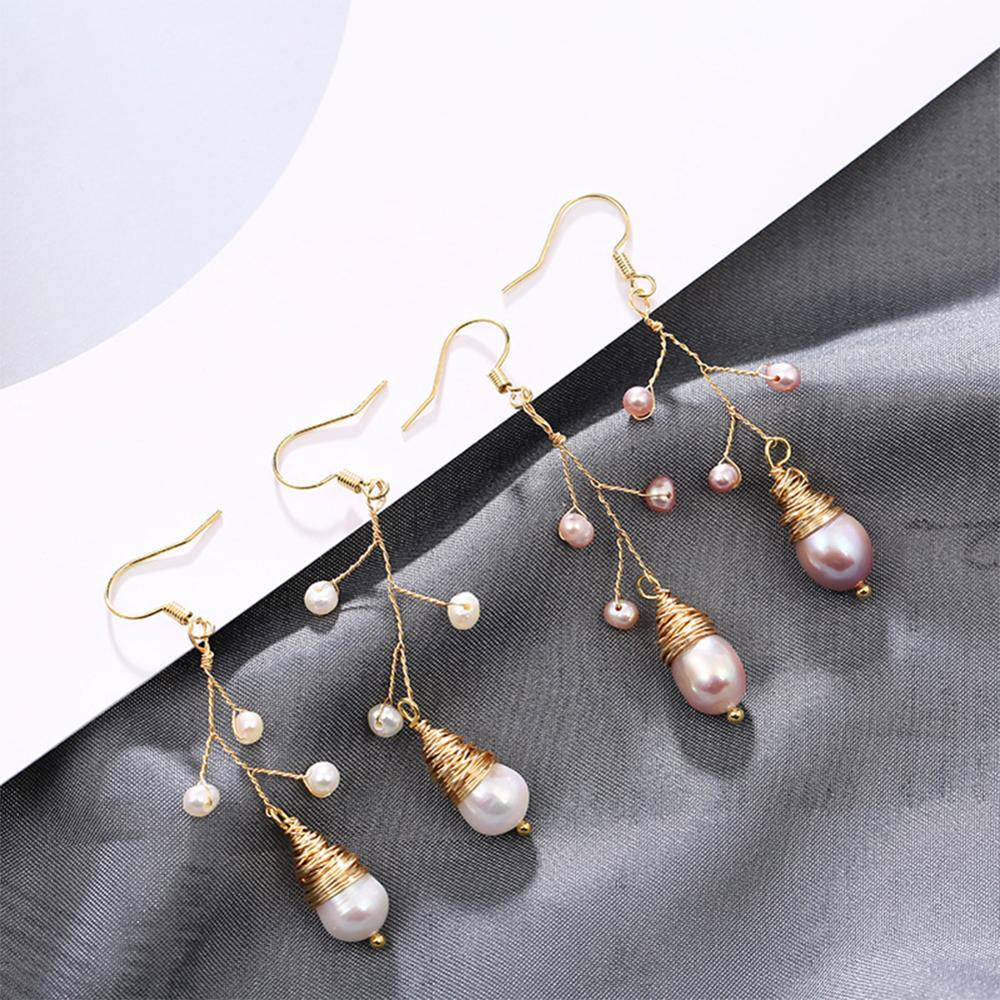 SEVEN GIRL Handmade pearl earring Freshwater Pearl Drop Earrings For Women Fashion Wedding Party Fine Jewelry