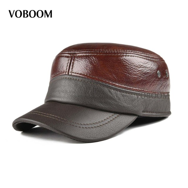 293b2081 VOBOOM Genuine Leather Cap Men Winter Warm Ear Protection Army Hat  Adjustable Male Military Caps 21