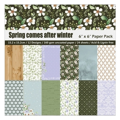 6 inch 24 Sheets Spring Comes After Winter Scrapbook Paper Origami Paper DIY Background Card Making  Home deco arts and crafts