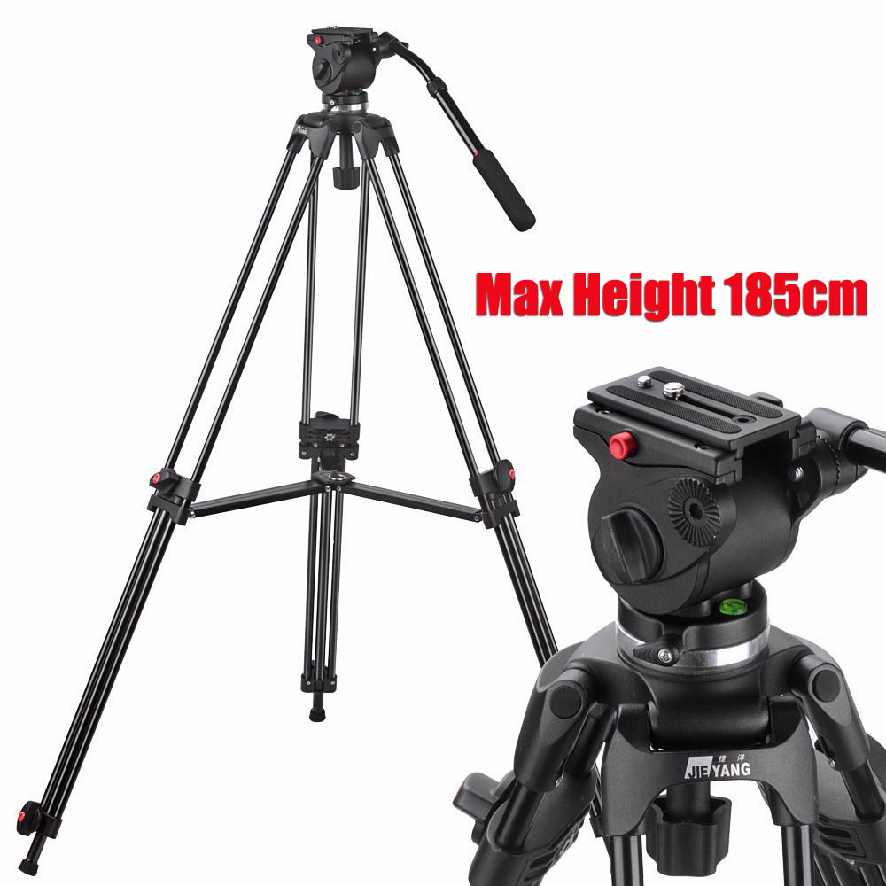 JY0508A JIEYANG Camera Camcorder Tripod Professional for Video Stand / DSLR Video Tripod / Fluid Head Damping /1610mm Max Height