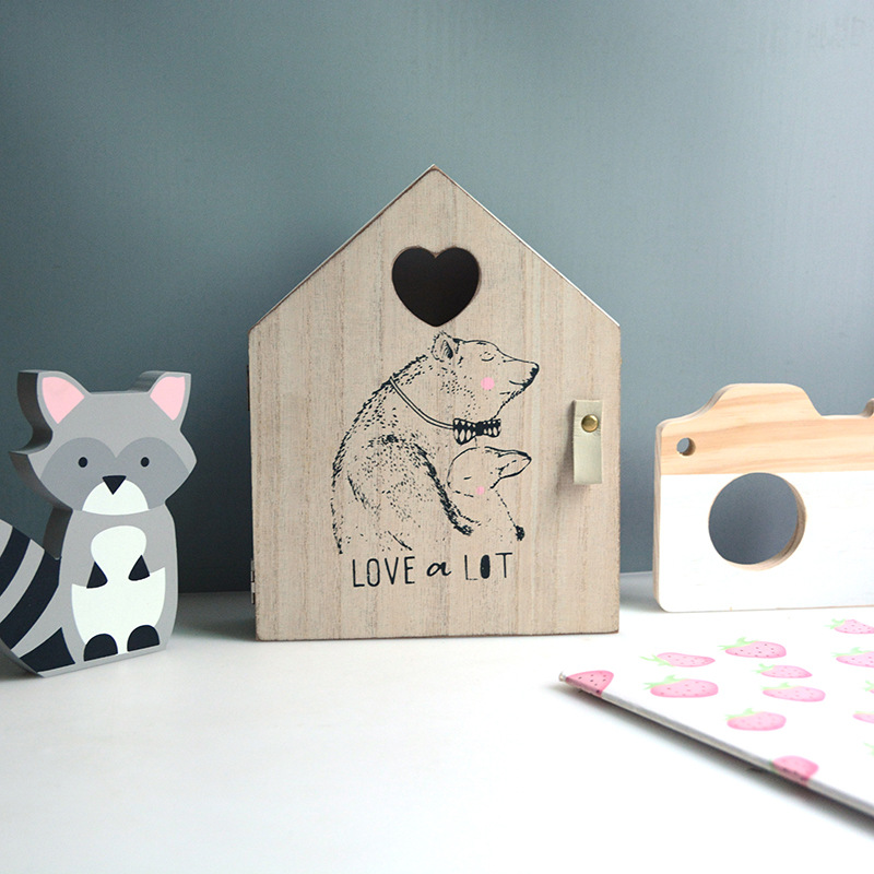Storage-Box House Wall-Decorations Wooden Bedroom Minimalist Nordic Home Hook Key Living-Room