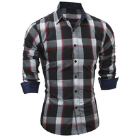 Brand 2017 Fashion Male Shirt Long Sleeves Tops Classic Spring Plaid Mens Dress Shirts Slim Men