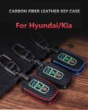 цена на Carbon fiber Leather Key Case Cover For Kia Sportage KX3 KX5 K3S RIO Ceed Cerato Optima K5 Sorento K2 Soul K3 K4 Car Styling