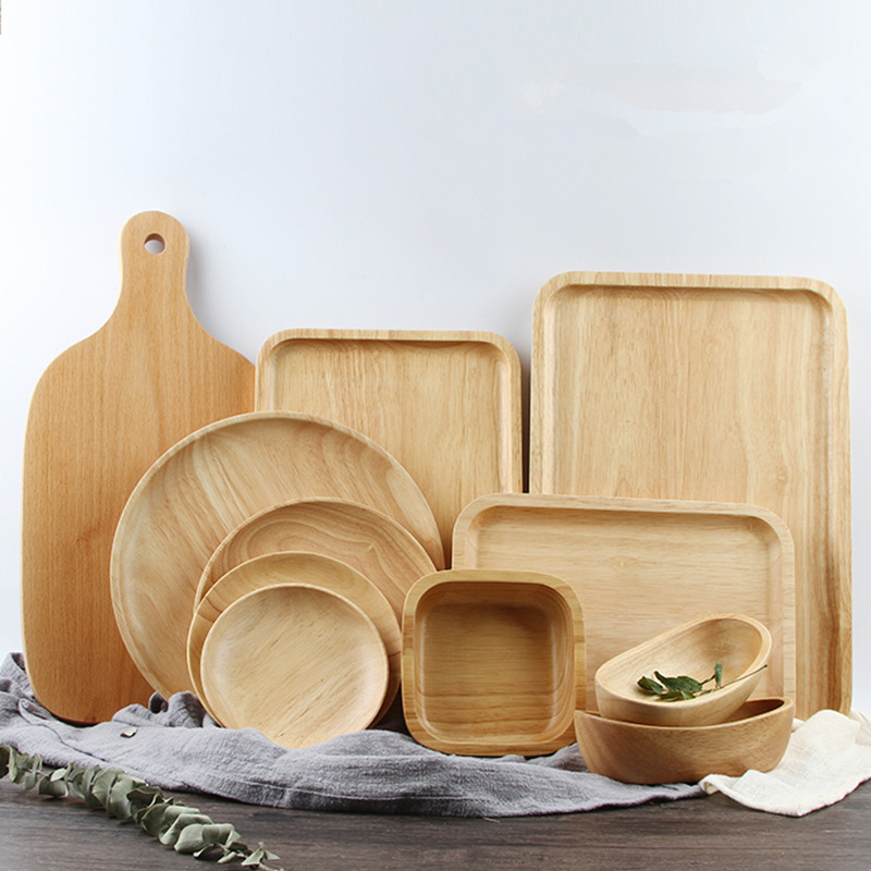 Trä serveringsbrickor för fest / hotell / hem middag tallrik maträtt servis gummi trä bricka för mellanmål frukt mjölk rund suqare