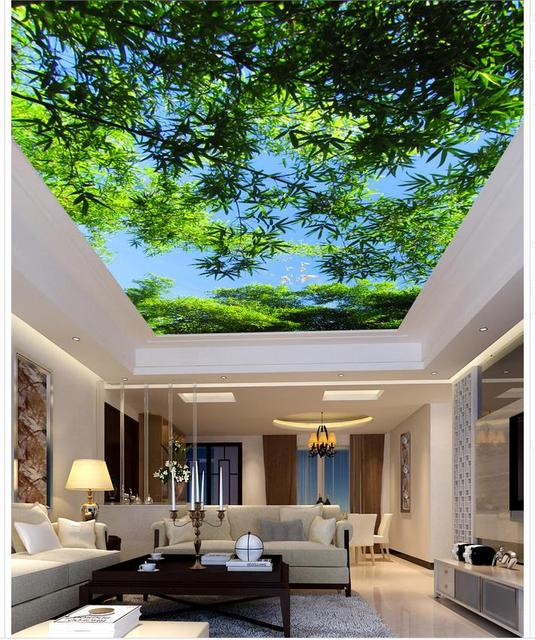 Bambus decke wohnzimmer schlafzimmer decke waldlandschaft ...