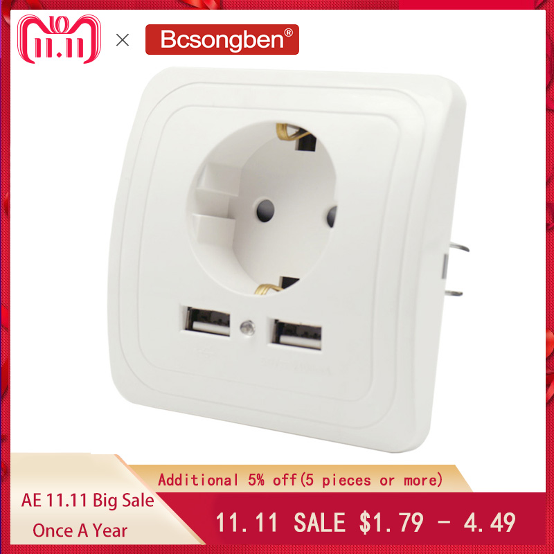 Bcsongben Dual USB Port Wall Charger Adapter Charging 2A Wall Charger Adapter EU Plug Socket Power Outlet black white sliver стоимость