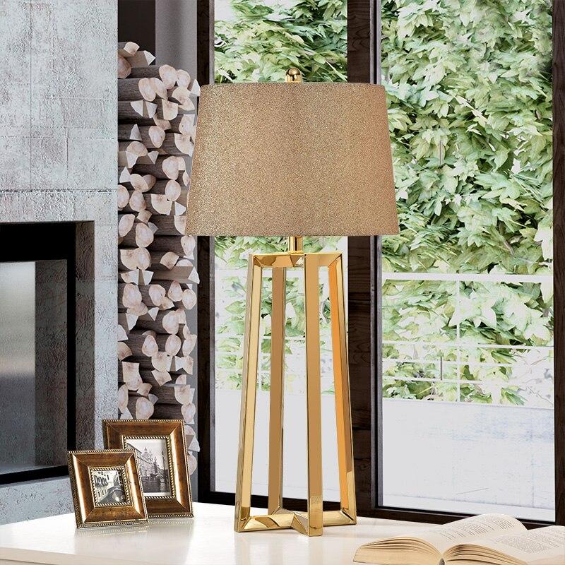Нержавеющая сталь абажуры Большой Современные настольные лампы для Гостиная Спальня прикроватной тумбочке лампы Современная мода Стол